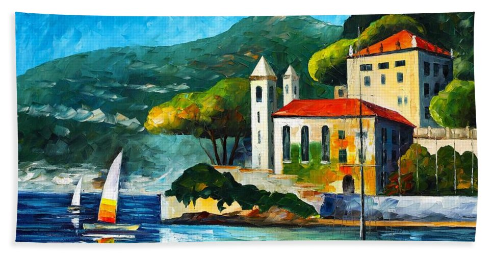 Afremov Hand Towel featuring the painting Italy Lake Como Villa Balbianello by Leonid Afremov