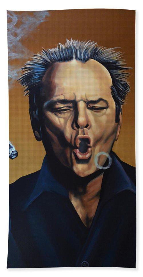 Jack Nicholson Bath Towel featuring the painting Jack Nicholson Painting by Paul Meijering