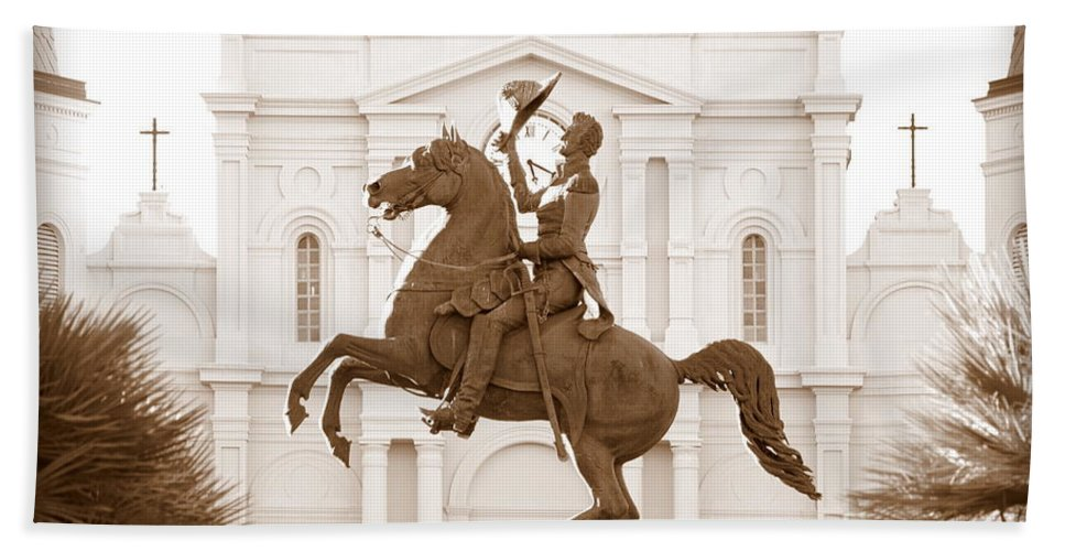 Jackson Square Bath Sheet featuring the photograph Jackson Square Statue In Sepia by Carol Groenen