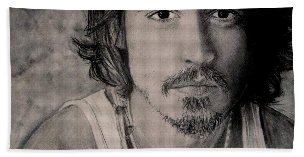 Depp Charcoal & Pastel Bath Sheet featuring the drawing Depp by Paula Soesbe