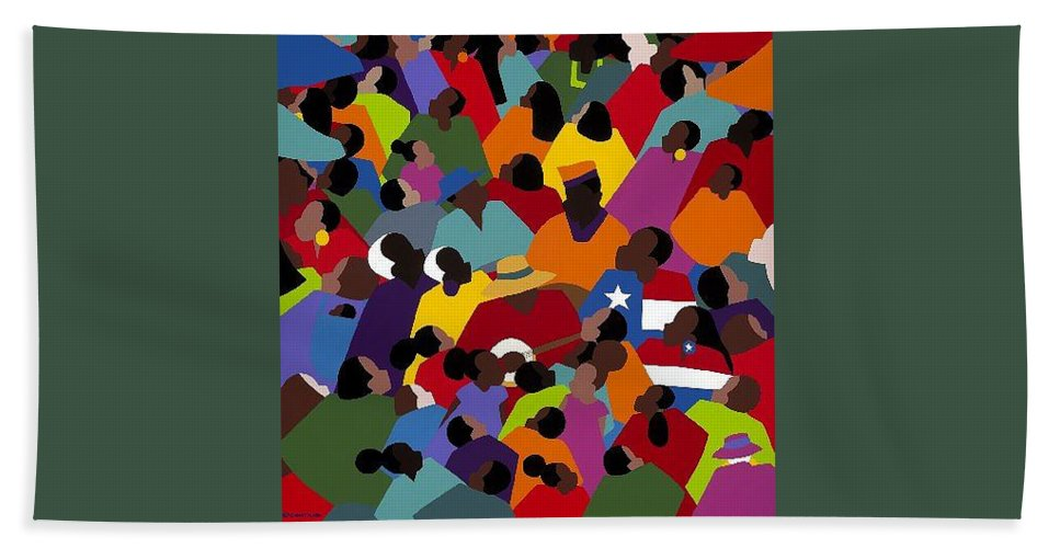 Juneteenth Bath Sheet featuring the painting Juneteenth by Synthia SAINT JAMES
