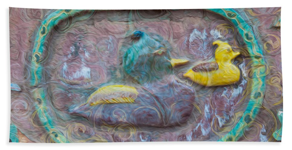 Georgia Okeefe Bath Sheet featuring the painting Just Ducky by Omaste Witkowski