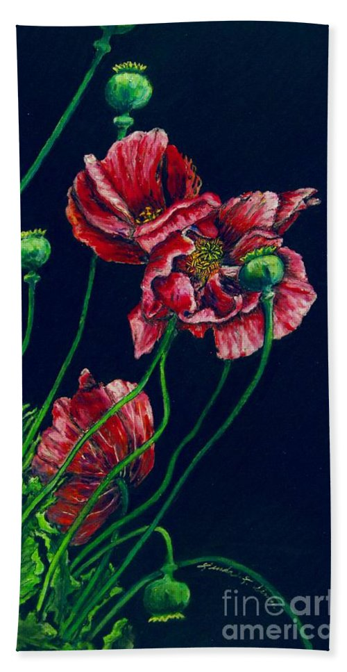Flowers Hand Towel featuring the pastel Kara's Poppies by Linda Simon
