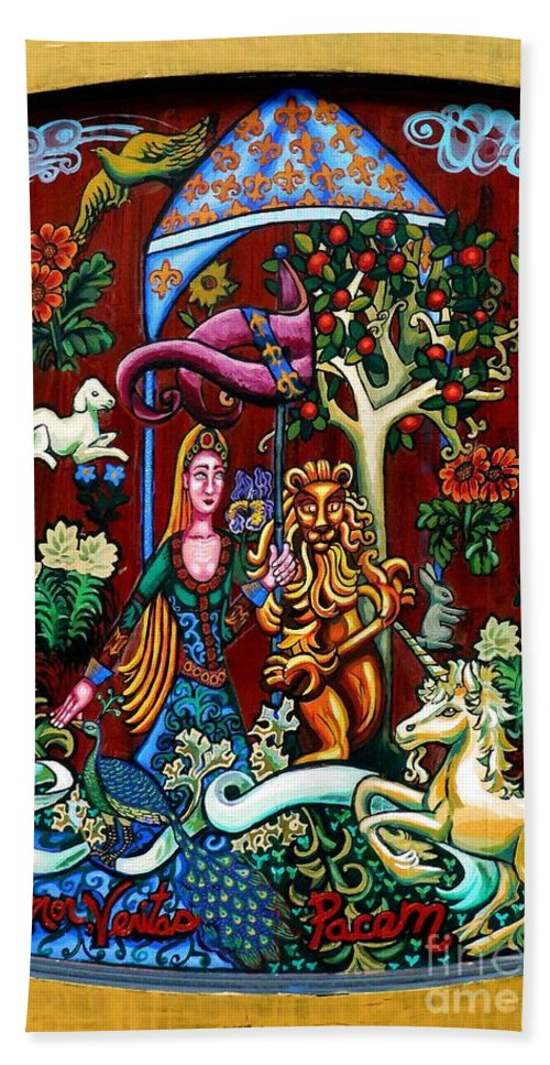 Lady Hand Towel featuring the painting Lady Lion And Unicorn by Genevieve Esson