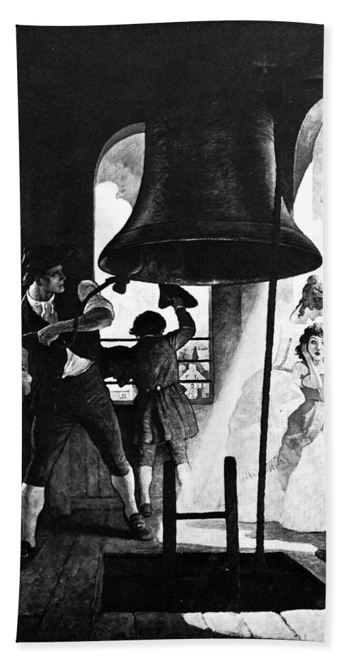 1776 Hand Towel featuring the photograph Liberty Bell, 1776 by Granger