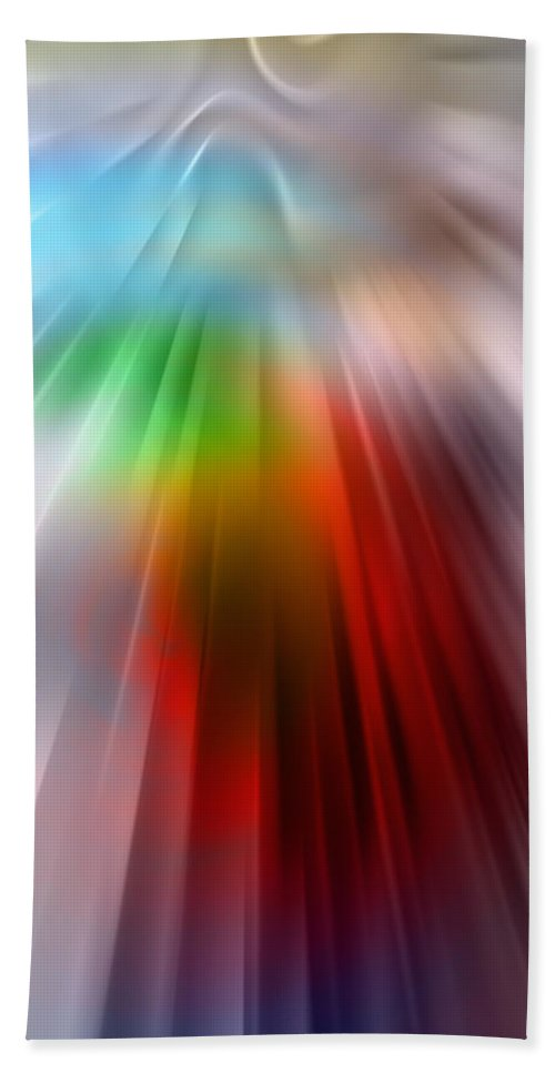 Light Lightspeed Universe Albert Einstein Prisma Color Colorful Expressionism Impresionism Digital Art Abstract Hand Towel featuring the digital art Lightspeed by Steve K