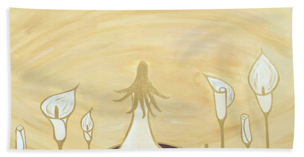 Lady Bath Sheet featuring the painting Lilies Of The Field by Angelina Vick