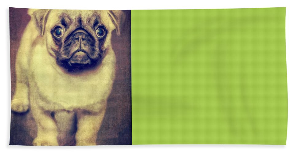 Grass Bath Sheet featuring the photograph Little Dog by Angela Doelling AD DESIGN Photo and PhotoArt