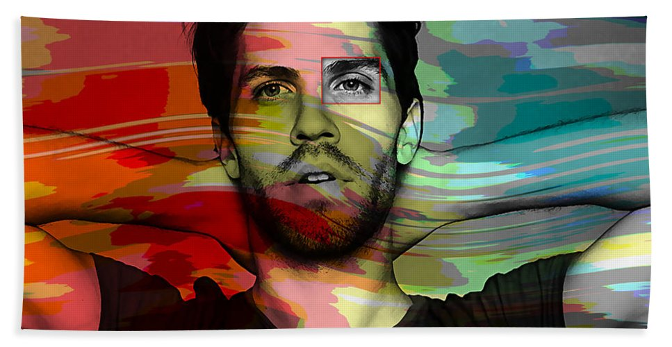 Lo Fang Mixed Media Hand Towel featuring the mixed media Lo Fang Matthew Hemerlein by Marvin Blaine