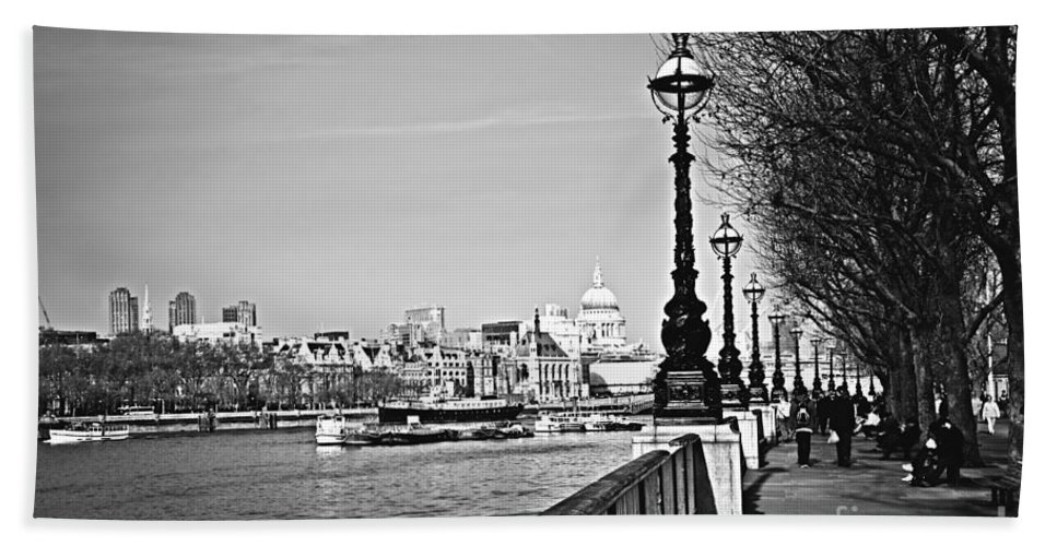 London Bath Sheet featuring the photograph London View From South Bank by Elena Elisseeva