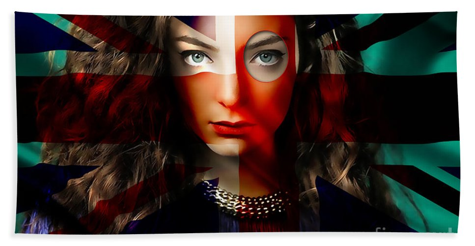 Lorde Digital Art Bath Sheet featuring the mixed media Lorde by Marvin Blaine