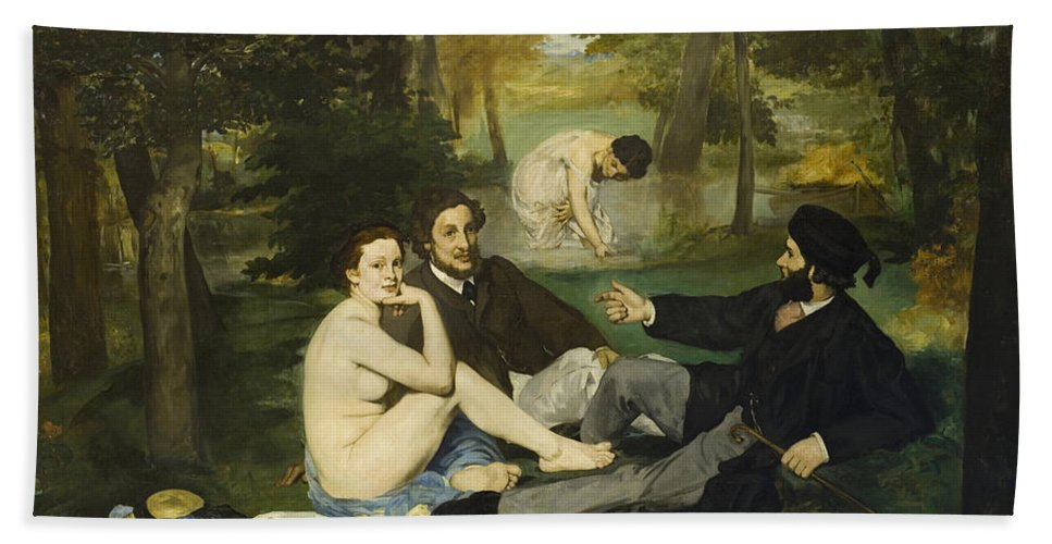 Luncheon On The Grass Hand Towel featuring the painting Luncheon On The Grass by Edouard Manet