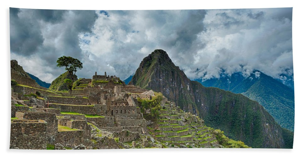 Ancient Hand Towel featuring the photograph Machu Picchu by U Schade