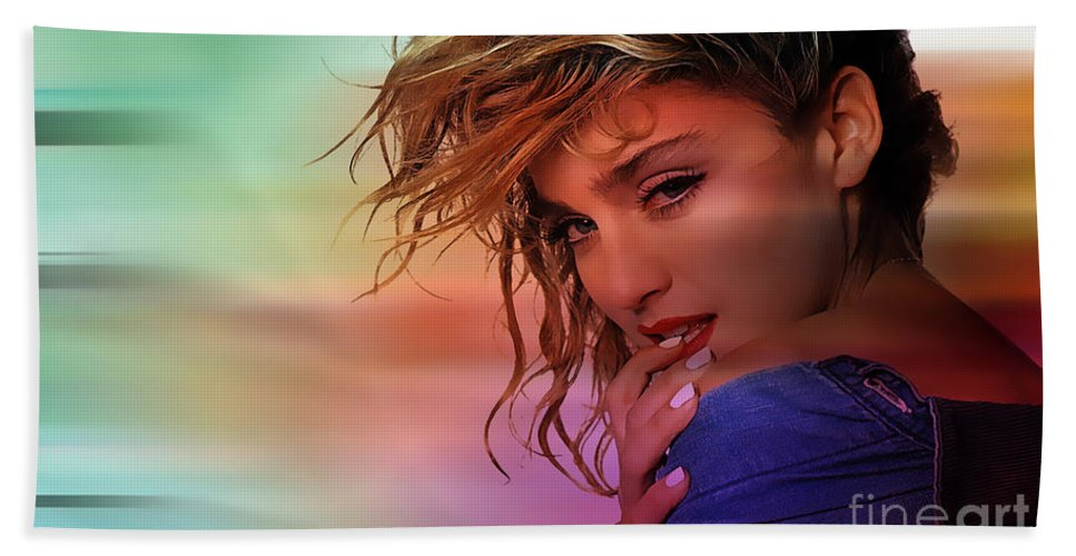 Portrait Paintings Bath Sheet featuring the mixed media Madonna Art by Marvin Blaine