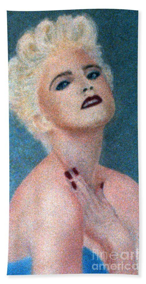 Madonna Bath Sheet featuring the pastel Madonna The Early Years by Bill Holkham