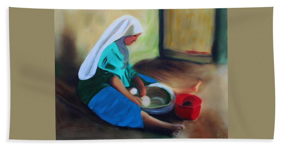 Woman Bath Sheet featuring the mixed media Making Bread by Deborah Boyd