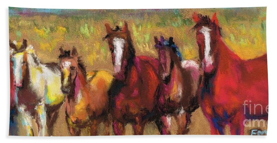 Horses Hand Towel featuring the painting Mares And Foals by Frances Marino