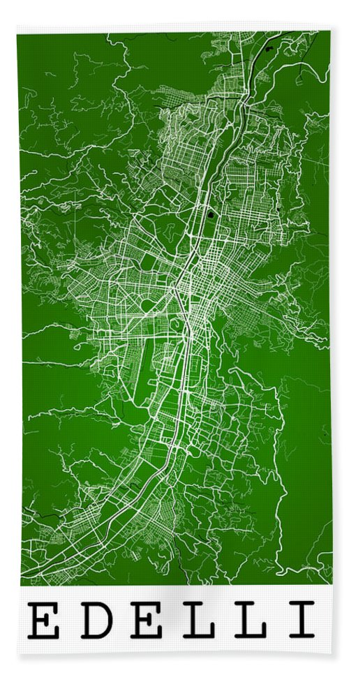 Road Map Hand Towel featuring the digital art Medellin Street Map - Medellin Colombia Road Map Art On Colored by Jurq Studio