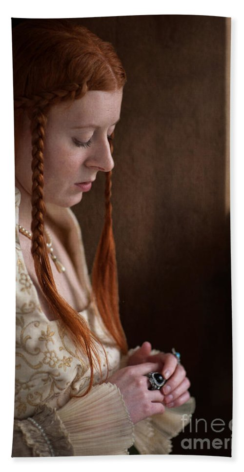 Medieval Hand Towel featuring the photograph Medieval Tudor Woman With Red Hair by Lee Avison