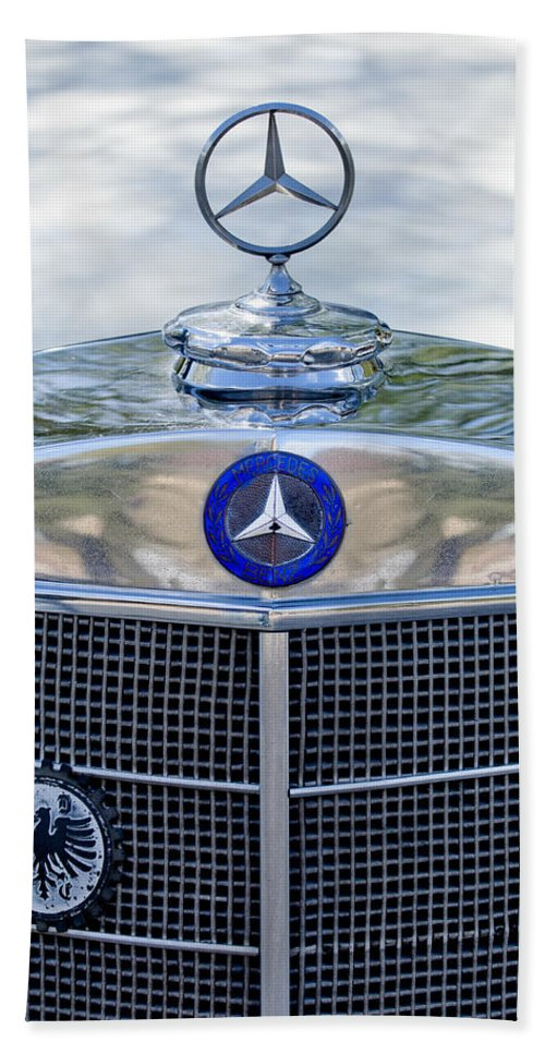 Mercedes-benz Bath Sheet featuring the photograph Mercedes-benz Hood Ornament by Jill Reger