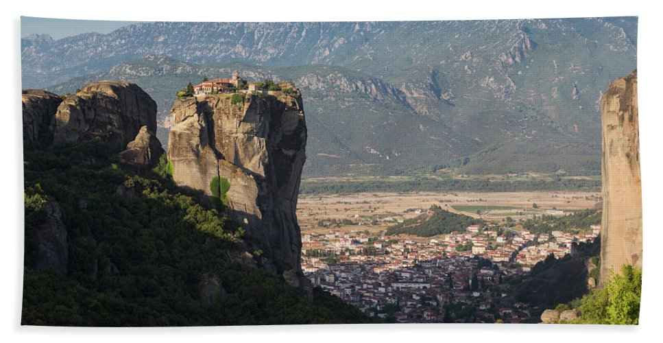 Photography Bath Sheet featuring the photograph Meteora, Thessaly, Greece. The Eastern by Panoramic Images