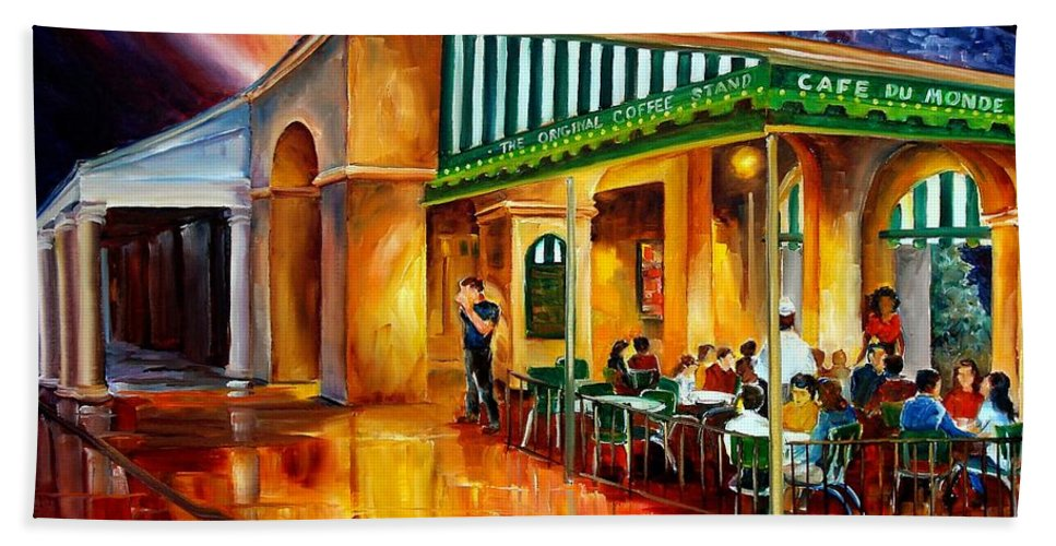 New Orleans Bath Towel featuring the painting Midnight At The Cafe Du Monde by Diane Millsap