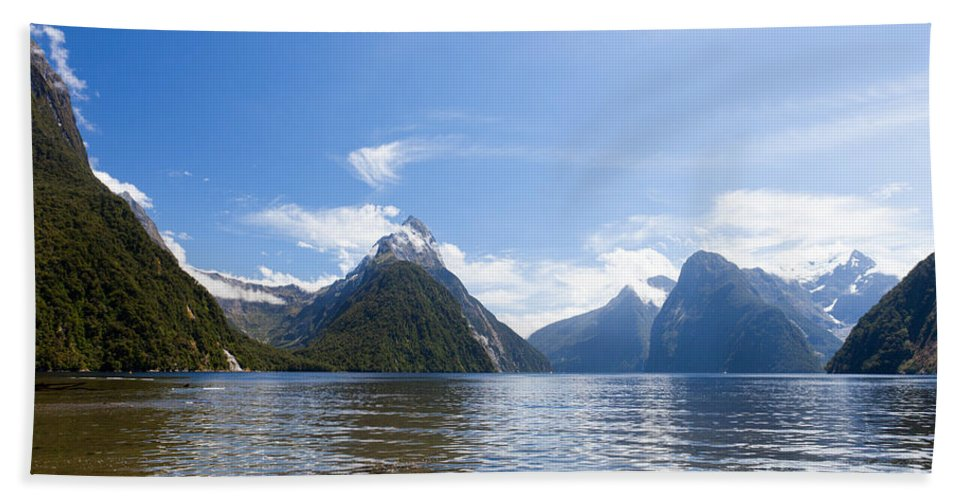 Mount Bath Sheet featuring the photograph Milford Sound And Mitre Peak In Fjordland Np Nz by Stephan Pietzko
