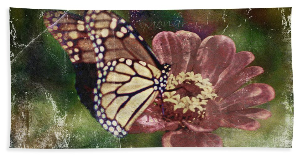 Fine Art Photography Hand Towel featuring the photograph Monarch- Butterfly Mixed Media Photo Composite by Patricia Griffin Brett