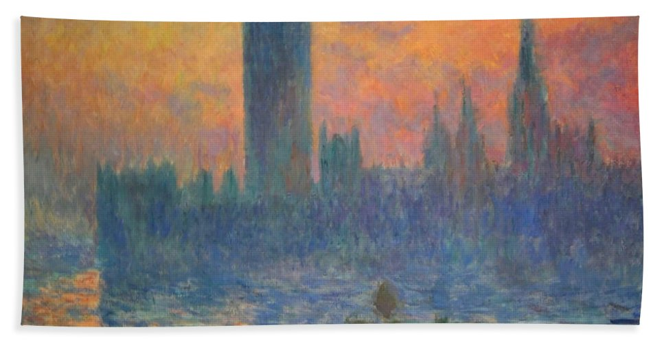 The Houses Of Parliament Bath Sheet featuring the photograph Monet's The Houses Of Parliament At Sunset by Cora Wandel