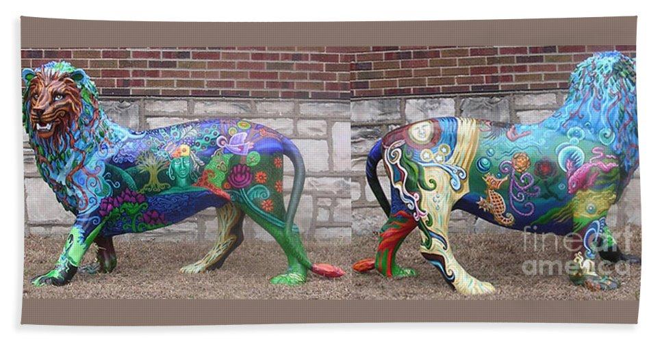 Acrylics On Fiber Glass Resin Lion Statue Bath Sheet featuring the painting Monsieur De Lioncourt by Genevieve Esson