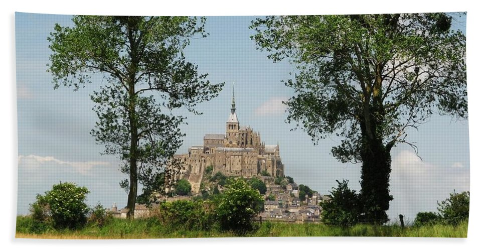 France Bath Sheet featuring the photograph Mont St. Michel by Mary Ellen Mueller Legault