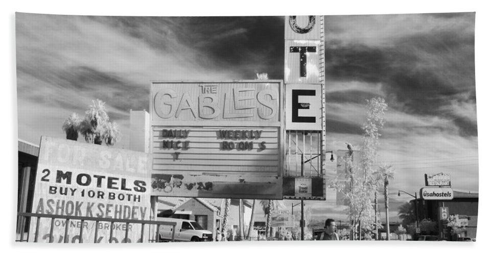Bath Sheet featuring the photograph 2 Motels by Jennifer Ann Henry