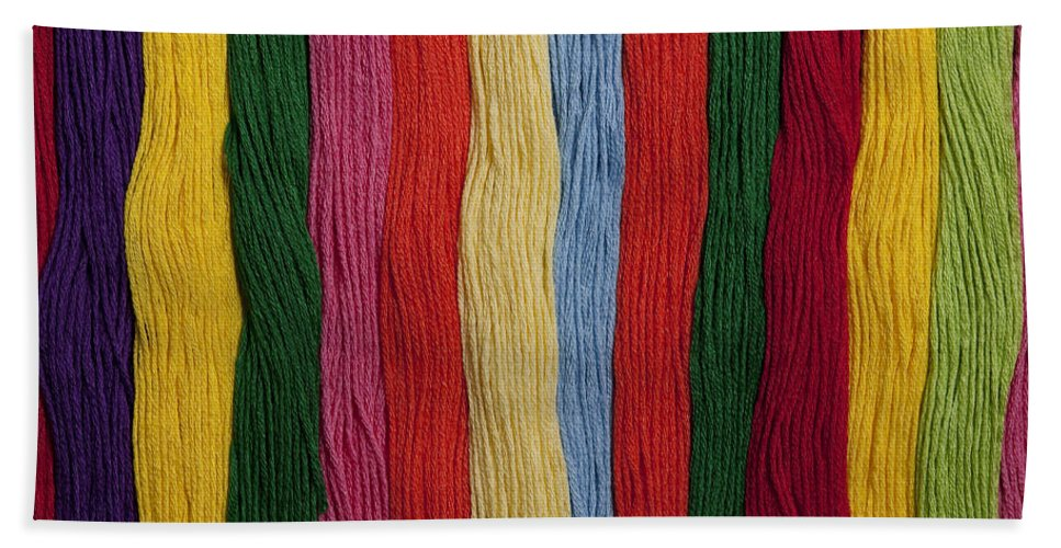 Abundance Bath Sheet featuring the photograph Multicolored Embroidery Thread In Rows by Jim Corwin