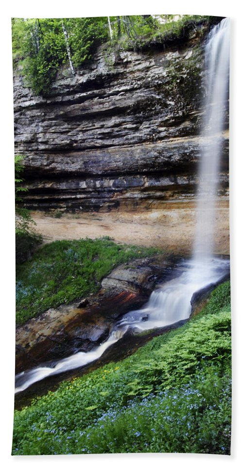3scape Photos Hand Towel featuring the photograph Munising Falls by Adam Romanowicz