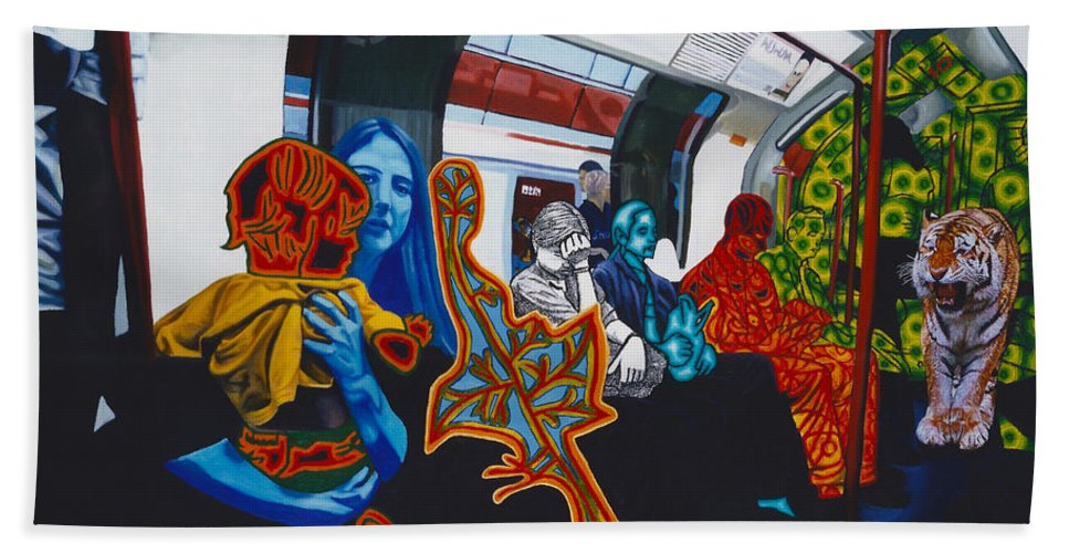 Underground Hand Towel featuring the painting Mutinous Objects Gather In Darkness. The Underground by Just Chill