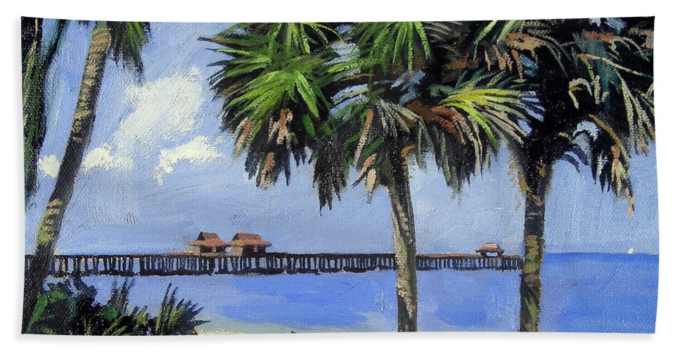 Christine Hopkins Hand Towel featuring the painting Naples Pier Naples Florida by Christine Hopkins