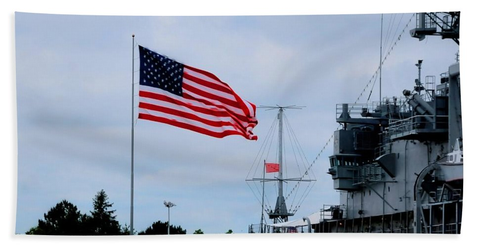 Little Bath Sheet featuring the photograph Naval Park And Museum by Kathleen Struckle