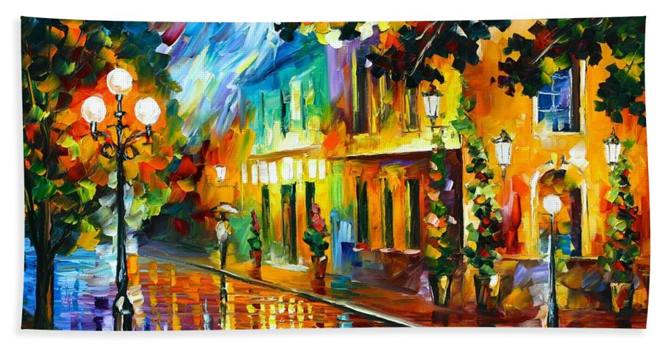 Afremov Hand Towel featuring the painting Night Flowers by Leonid Afremov