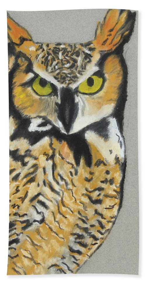 Owl Hand Towel featuring the painting Night Owl by Jeanne Fischer