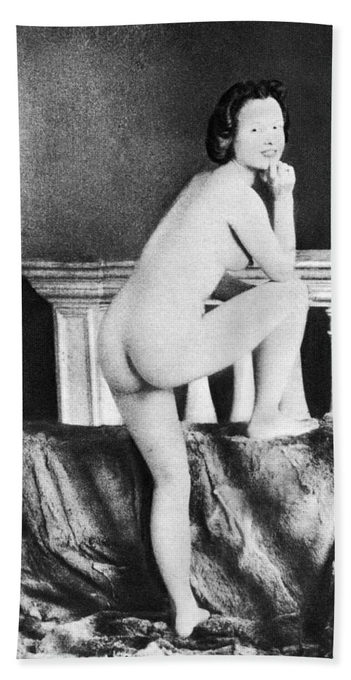 1850 Hand Towel featuring the photograph Nude Posing, C1850 by Granger