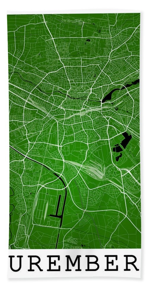 Road Map Hand Towel featuring the digital art Nuremberg Street Map - Nuremberg Germany Road Map Art On Colored by Jurq Studio