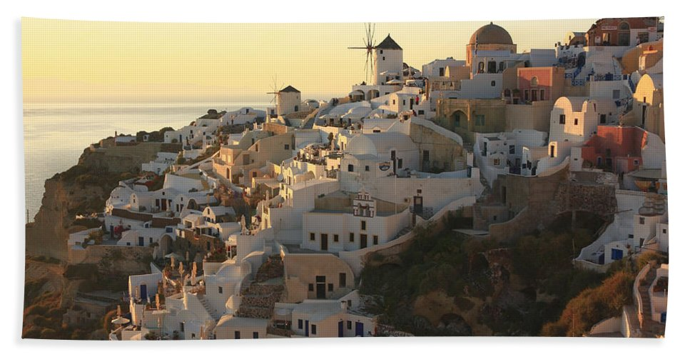 Aegean Hand Towel featuring the photograph Oia At Sunset Santorini Cyclades Greece by Ivan Pendjakov