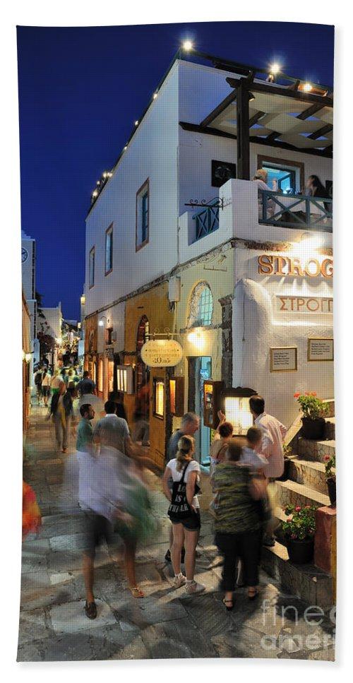 Santorini Bath Sheet featuring the photograph Oia Town During Dusk Time by George Atsametakis