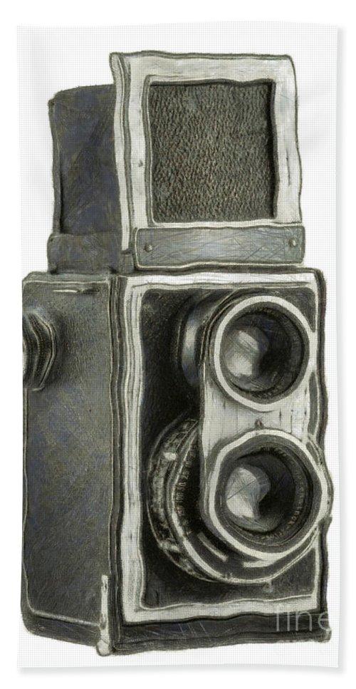 1940 Bath Sheet featuring the digital art Old Still Camera by Michal Boubin