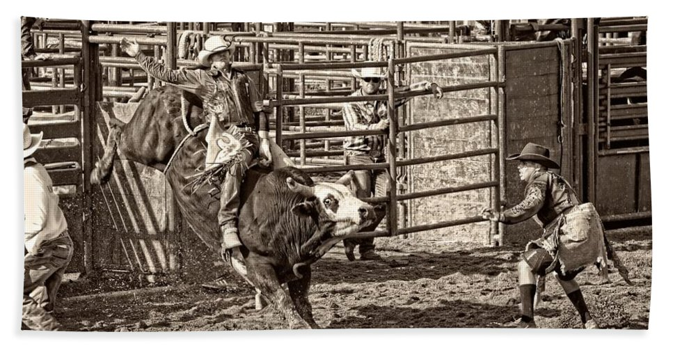 Bullriding Bath Sheet featuring the photograph Ole Whitey by Alice Gipson
