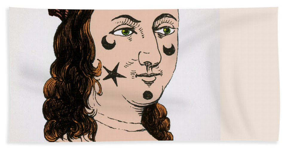 History Bath Sheet featuring the photograph Ornamental Patches On Face 17th Century by Photo Researchers