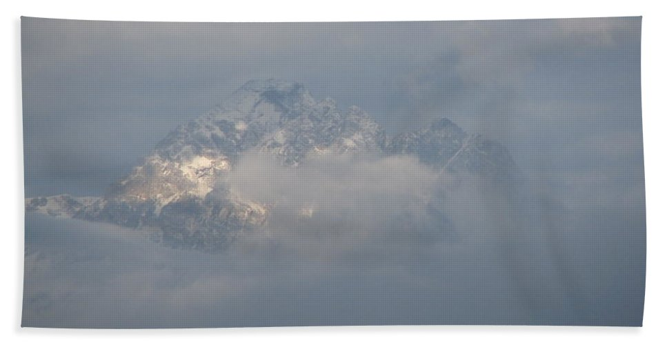 Rocky Mountains Bath Towel featuring the photograph Out Of The Clouds by Greg Patzer