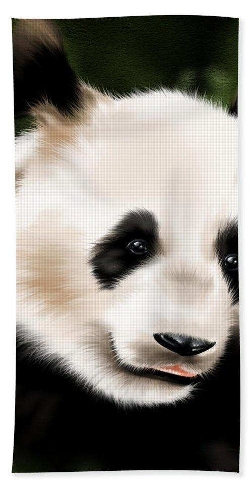Ipad Bath Sheet featuring the painting Panda by Veronica Minozzi