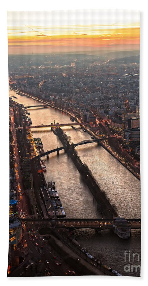 Aerial Bath Sheet featuring the photograph Paris At Sunset by Luciano Mortula