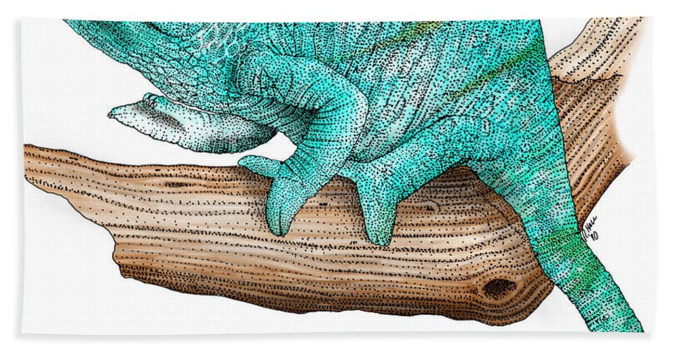 Lizard Hand Towel featuring the photograph Parsons Chameleon by Roger Hall